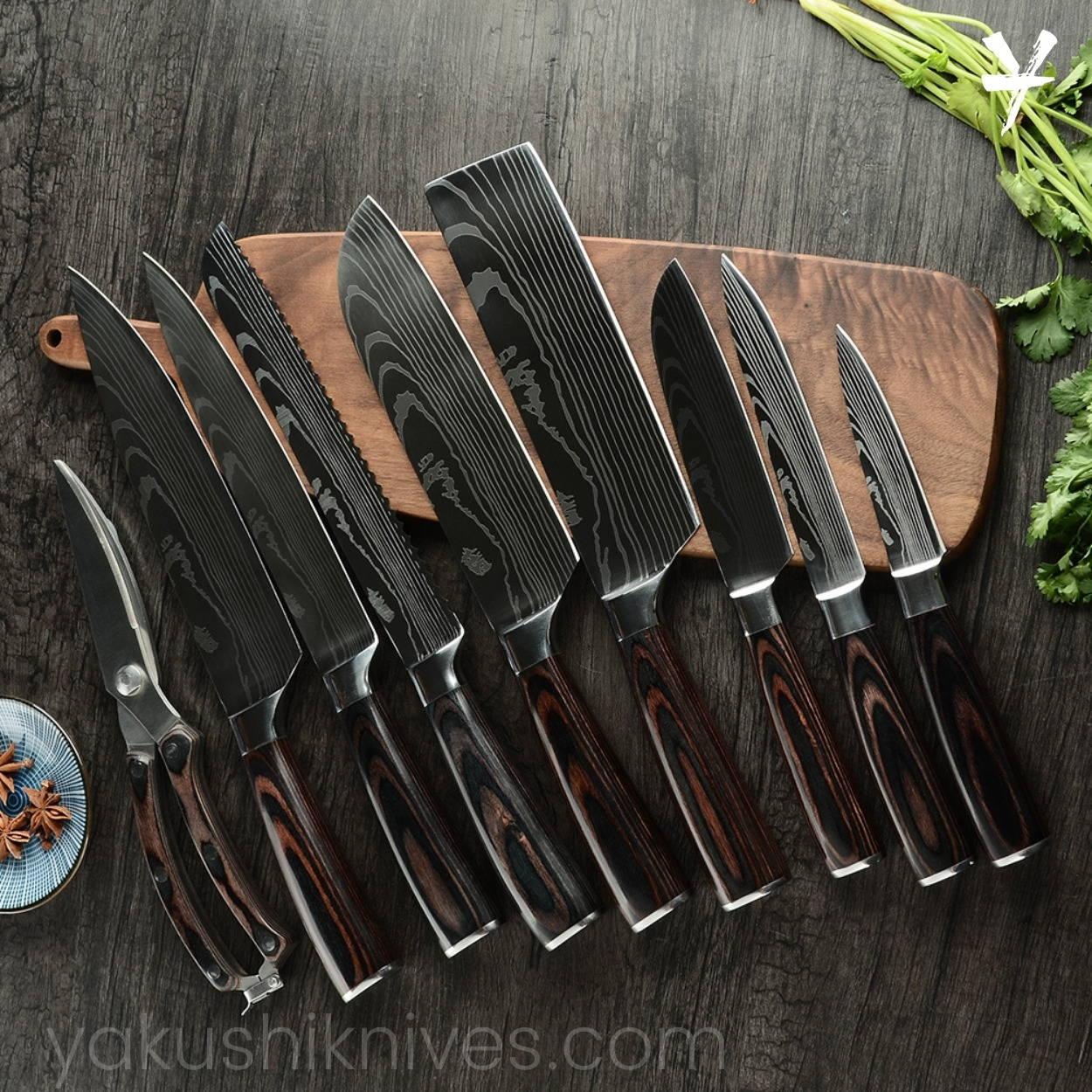 Japanese Knife Set, Chef Knife Set, Damascus Knives, Professional Kitchen Knives