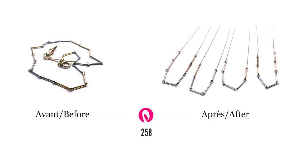 Transformation d'un collier en or tube en quatre colliers distincts