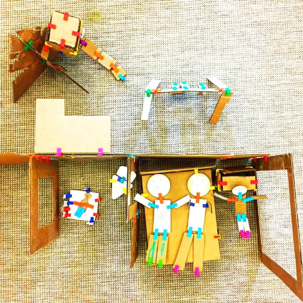 design a playground with cardboard