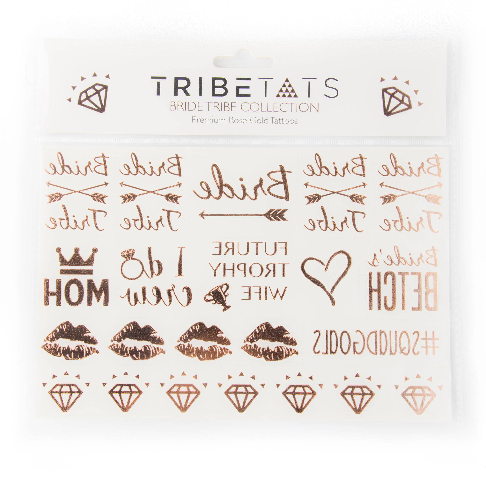 acc82c5f7 Bachelorette Party Temporary Metallic Tattoos | Bride Tribe Rose Gold –  TribeTats