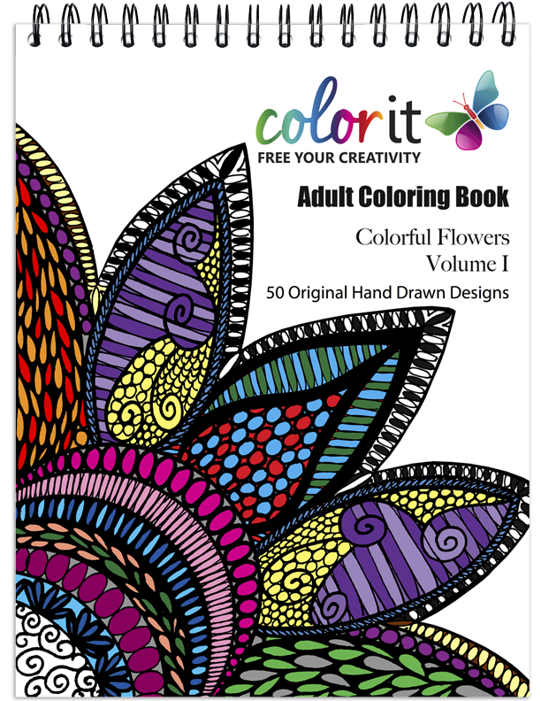 Flower Coloring Book For Adults, Colorful Flowers Vol 1 – ColorIt