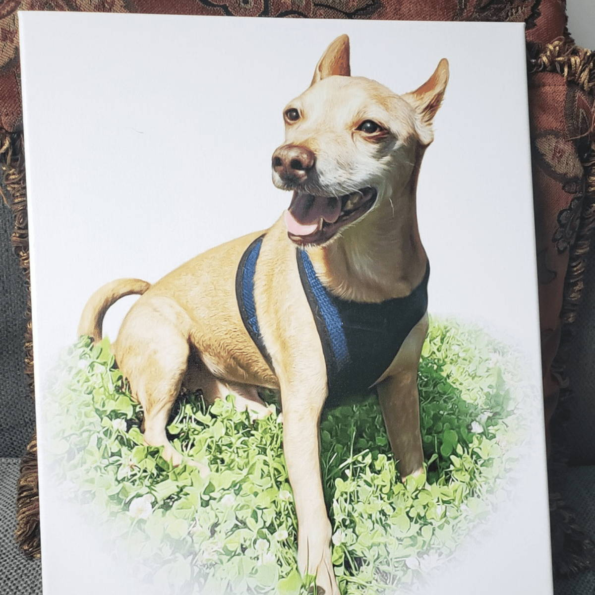 My pooch face dog painting on white background