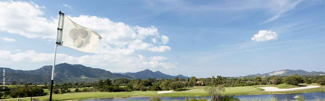 Hamburg - Fairways of the Black, Yellow and Championship Course of the Italian golf resort Is Molas in Sardinia.