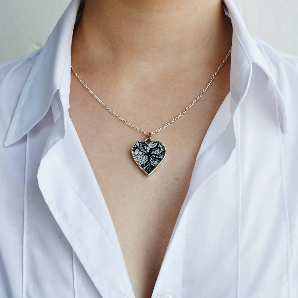 Silver in lace tradition heart pendant on chain as worn - Lily Gardner London