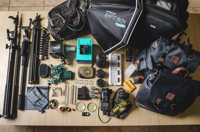 a bunch of photography equipment