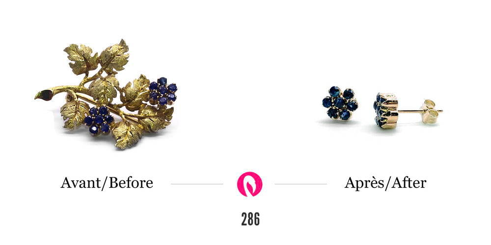 Transformation d'une broche en forme de branche avec petits saphirs formant des fleurs en des boucles d'oreilles gardant seulement la forme de la fleur et les saphirs