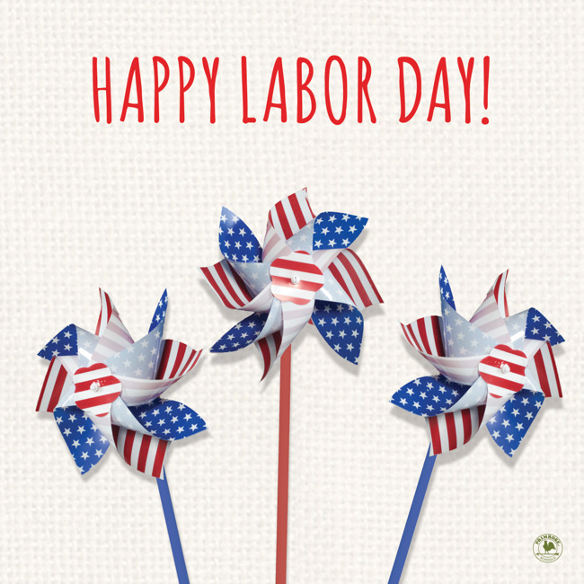 Happy Labor day poster featuring american flag themed paper windmills