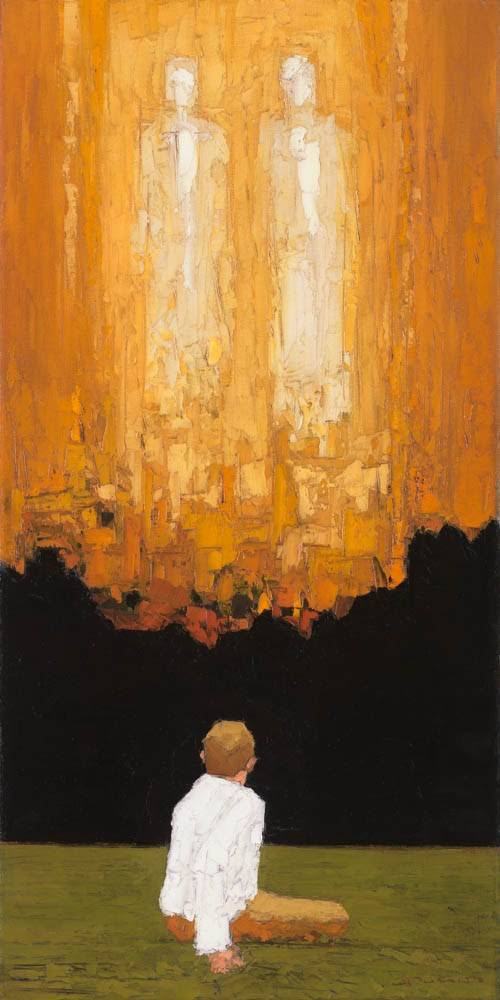 Vertical LDS art painting of Joseph Smith's First Vision done in modern, minimalist style.
