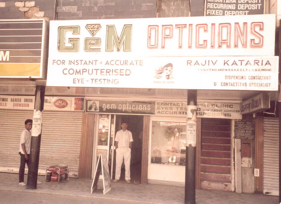 A young Mr. Rajiv Kataria outside the GEM Opticians South Extension-1 store in 1985