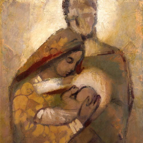 Painting of Joseph and Mary holding baby Jesus.