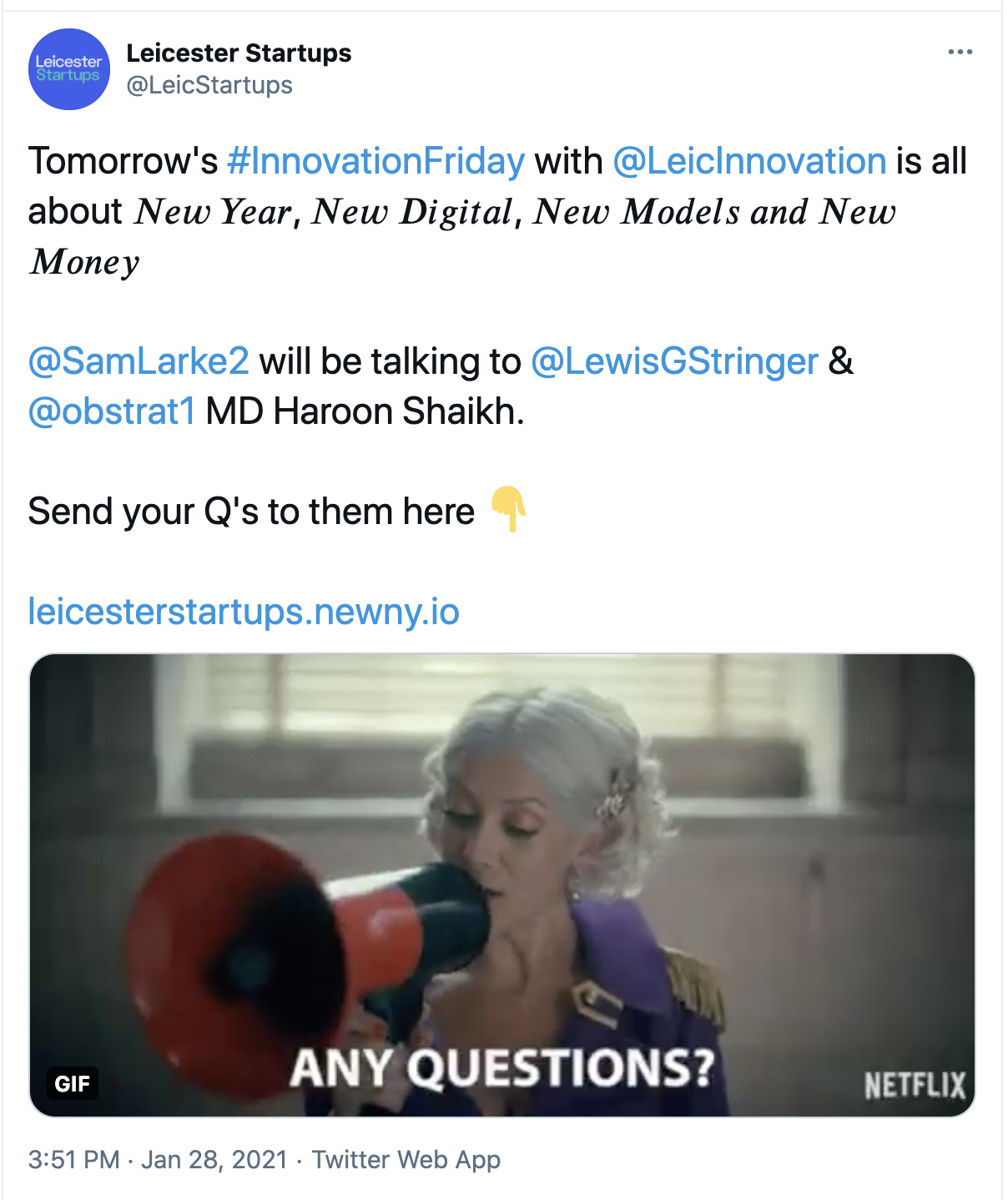 Tweet by Leicester Startups sharing their Newny link