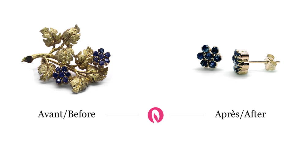 Transformation of a branch-shaped brooch with small flower-forming sapphires into earrings keeping only the shape of the flower and the sapphires