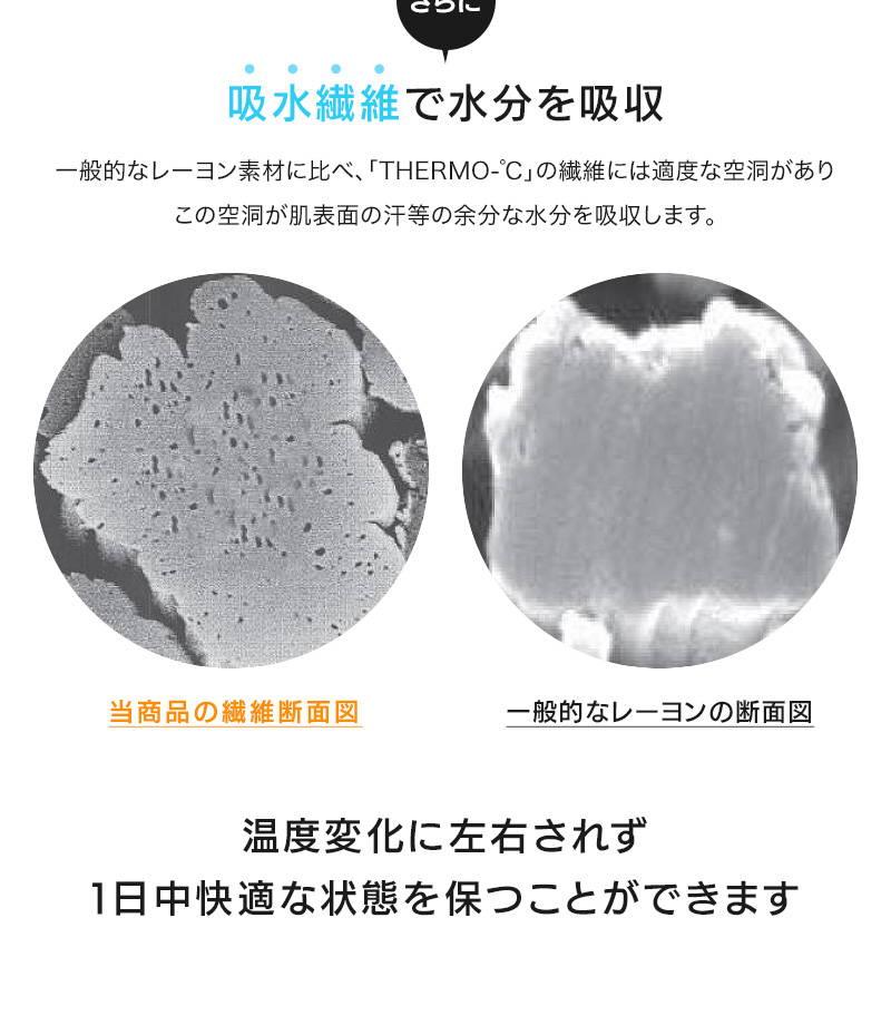 さらに吸水繊維で水分を吸収 一般的なレーヨン素材に比べ、「THERMO-℃」の繊維には適度な空洞がありこの空洞が肌表面の汗等の余分な水分を吸収します。当商品の繊維断面図 一般的なレーヨンの断面図 温度変化に左右されず 1日中快適な状態を保つことができます