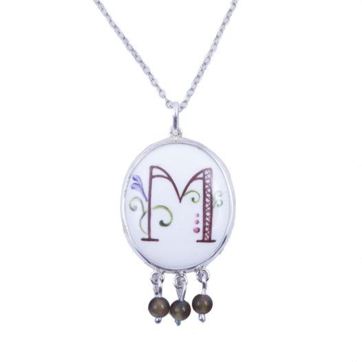 Серебряная подвеска с монограммой М и разноцветными турмалинами