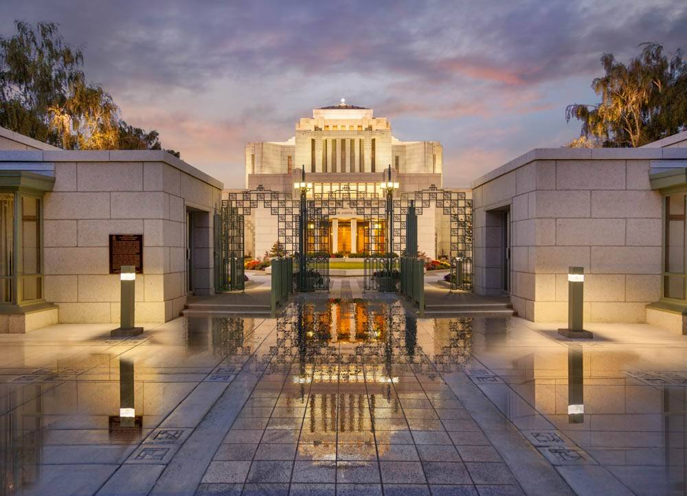 LDS art photo of the Cardston Temple taken after a recent rainfall.