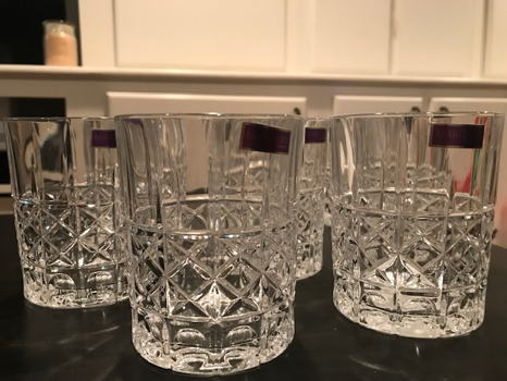 Eight Waterford Double Old Fashion Crystal Glasses