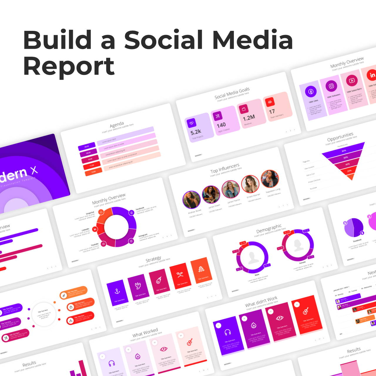 Modern X Social Media Report Presentation Template