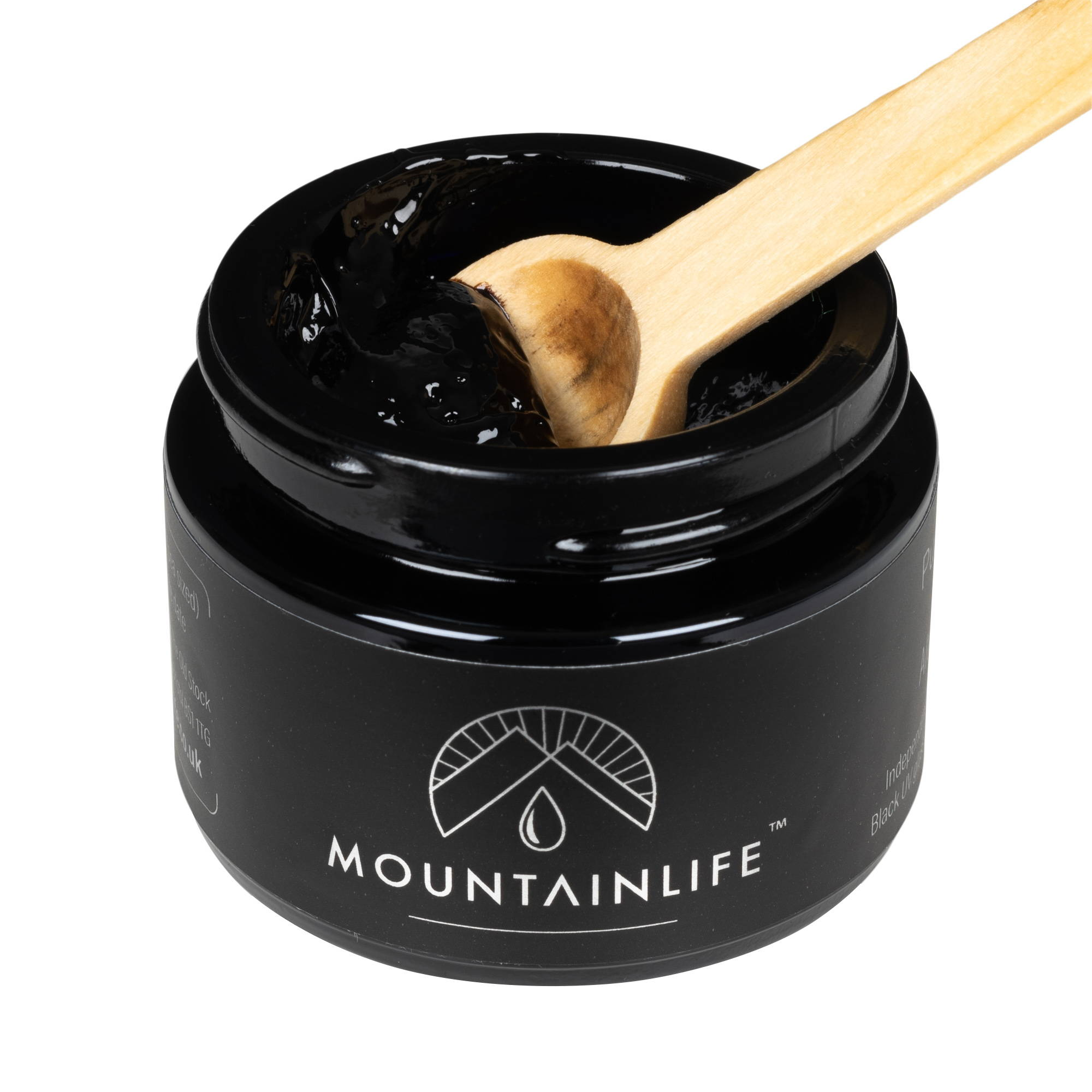 Mountainlife Shilajit resin in 30g UV glass jar with wooden scooping spoon