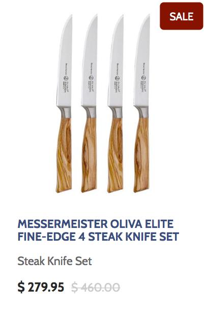 Messermeister Oliva Elite Fine Edge 4 Steak Knife Set wuth Olive Wood Handles