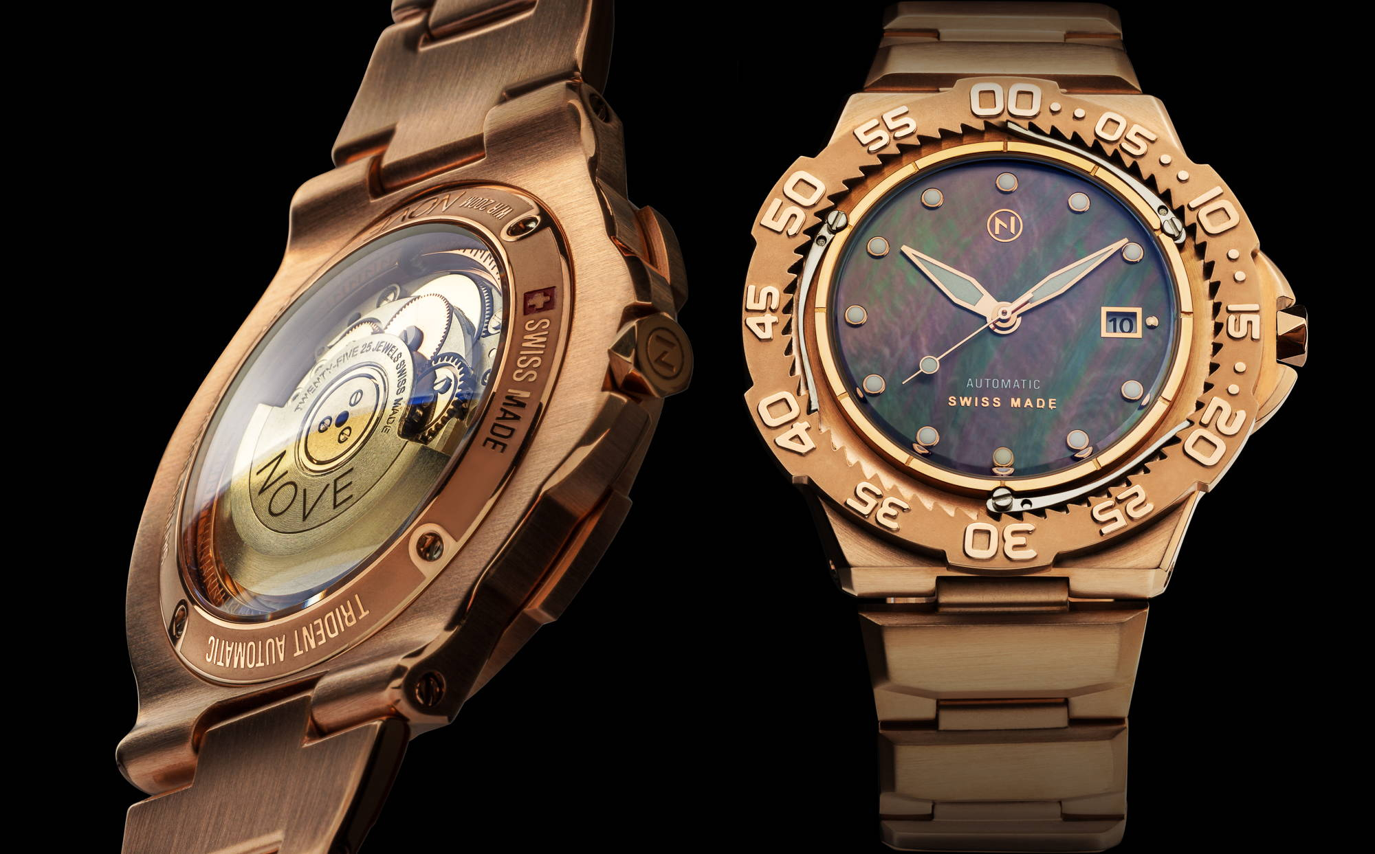 Rose Gold slim trident automatic dive watch tool watch with beautiful Tahitian mother of pearl dial