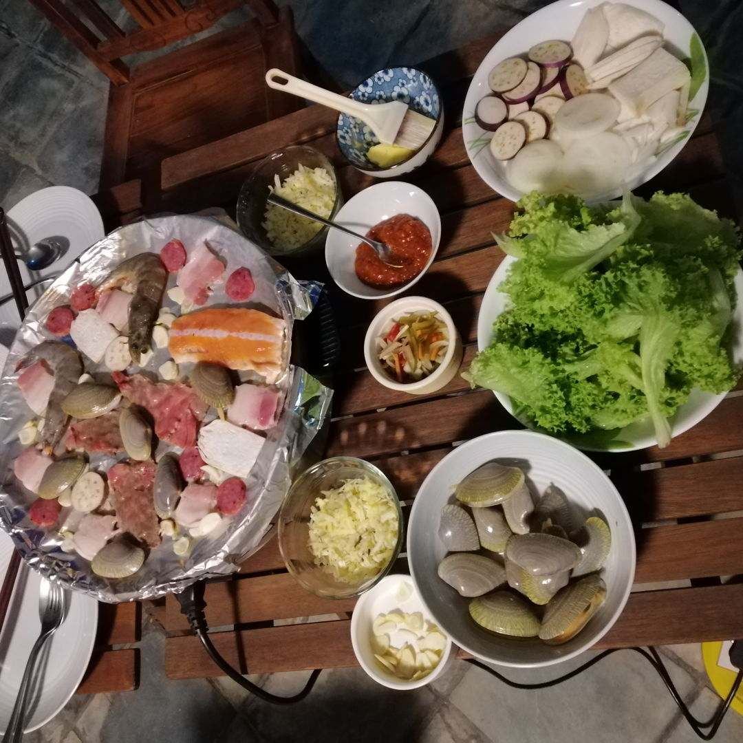 another great homemade Korean BBQ out on the front porch
