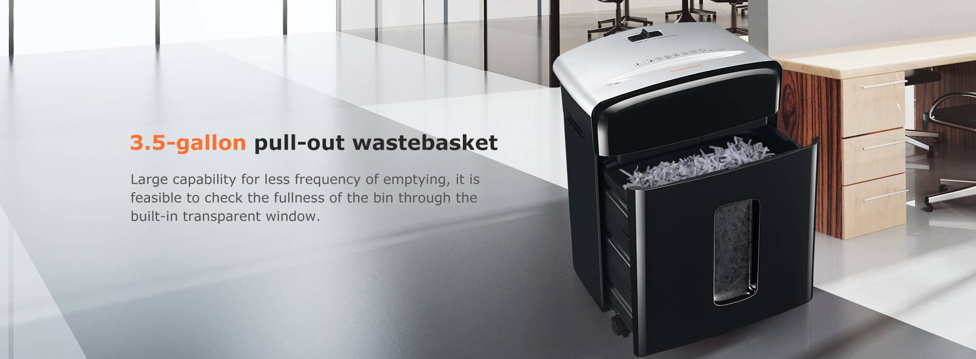 3.5-gallon pull-out wastebasket Large capability for less frequency of emptying, it is feasible to check the fullness of the bin through the built-in transparent window.