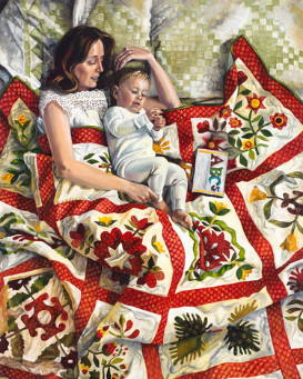 Painting of a mother and her baby resting on a homemade quilt.