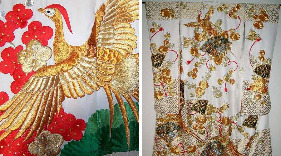 Embroidered phoenix on a japanese kimono. detailed picture and full length picture