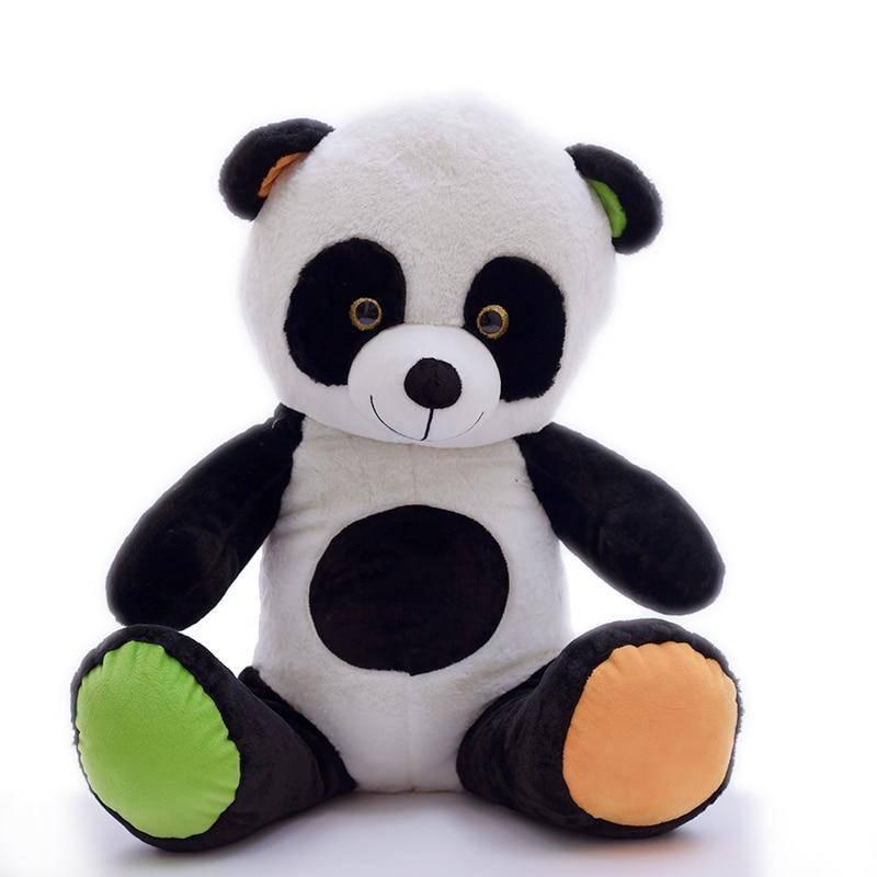 doudou panda pattes jaunes vertes