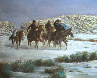 Three men on horseback traveling through the snow to deliver supplies to the struggling Martin Handcart Company