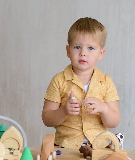 Рубашка для мальчика Иван - царевич (горох на горчичном)