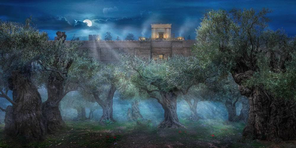 Digital art Garden of Gethsemane picture showing Jerusalem's wall.