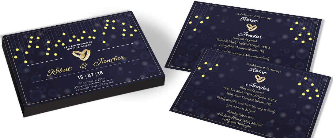 String Light Catholic Wedding Invitation