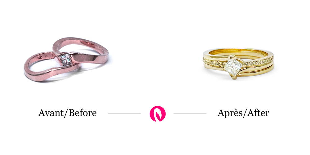 Two rings in pink gold, one of which has a diamond transformed into a semi-eternity ring in yellow gold.
