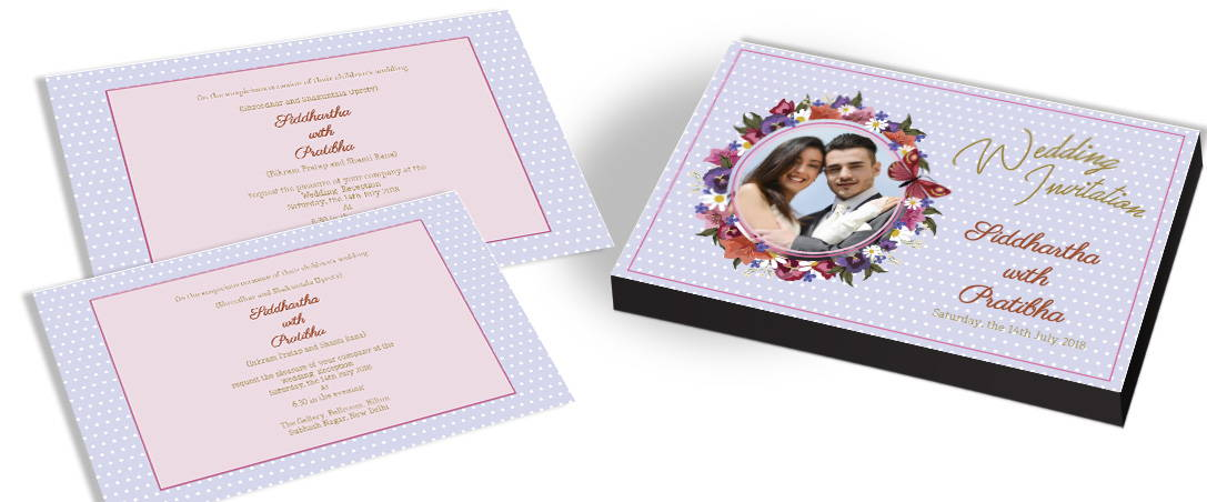 Butterfly Themed Wedding Invitation with Photo