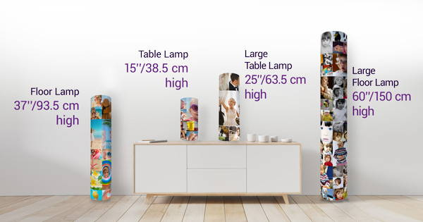 Fotbee lamp sizes compare. Table 38 cm, Large Table 64 cm, Floor lamp 94 cm, Large Floor Lamp 150 cm