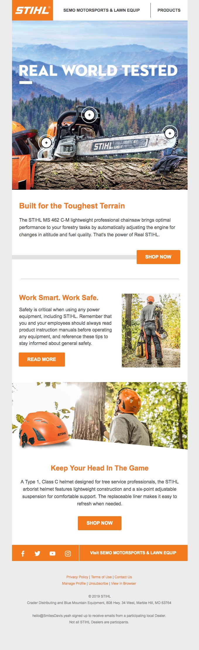 Stihl sends great emails to their niche audience.