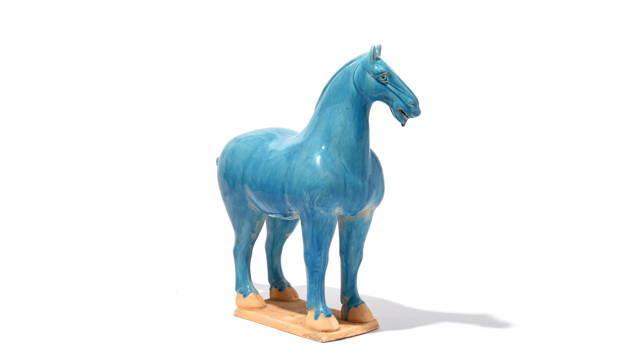 Turquoise Glazed Terracotta Tang Horse Statue | Indigo Antiques