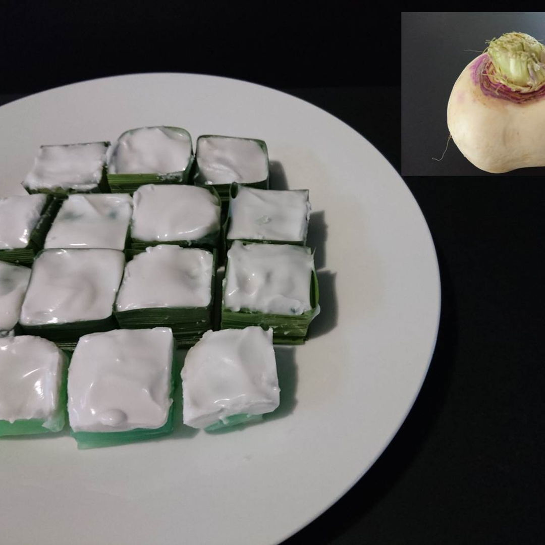 Date: 5 Nov 2019 (Tue) 16th Dessert: Kuih Tako Pandan (Pandan Coconut Jelly Dessert) [85] [100.9%] [Score: 8.0]  Insert in image is the turnip I used as the filling in the bottom pandan jelly layer. I don't know if it is the right turnip. Nyonya Cooking says to use turnip (sengkuang) or water chestnut. I went to the supermarket this morning and found this turnip. It doesn't look like a sengkuang or water chestnut :(