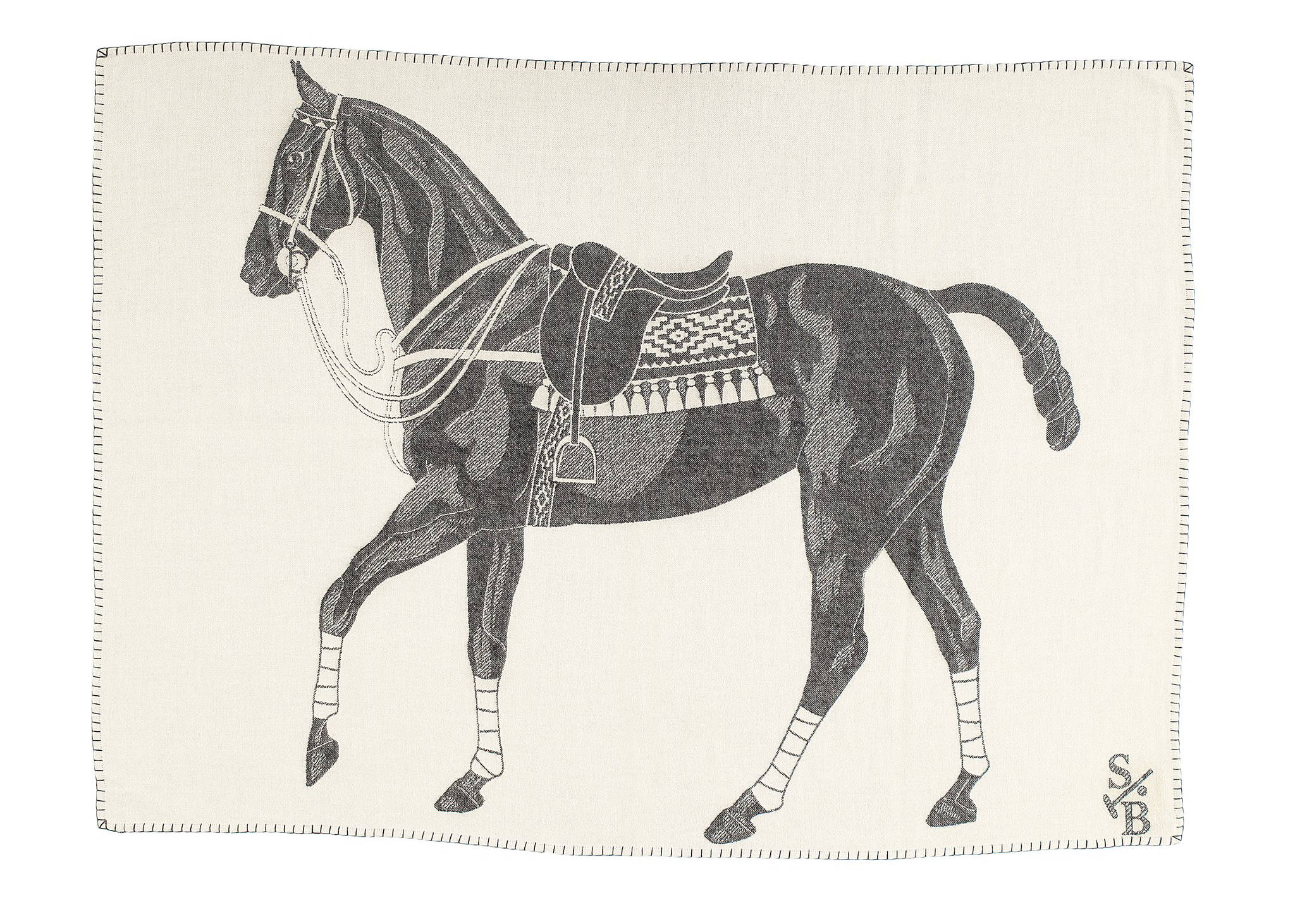 Loomed and hand-stitched Equestrian-inspired Polo Pony Throw in Charcoal - Stick & Ball