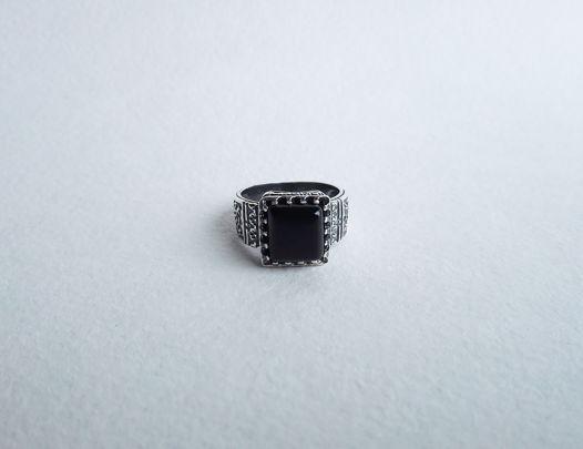 Кольцо с квадратным агатом,  15,5 размер
