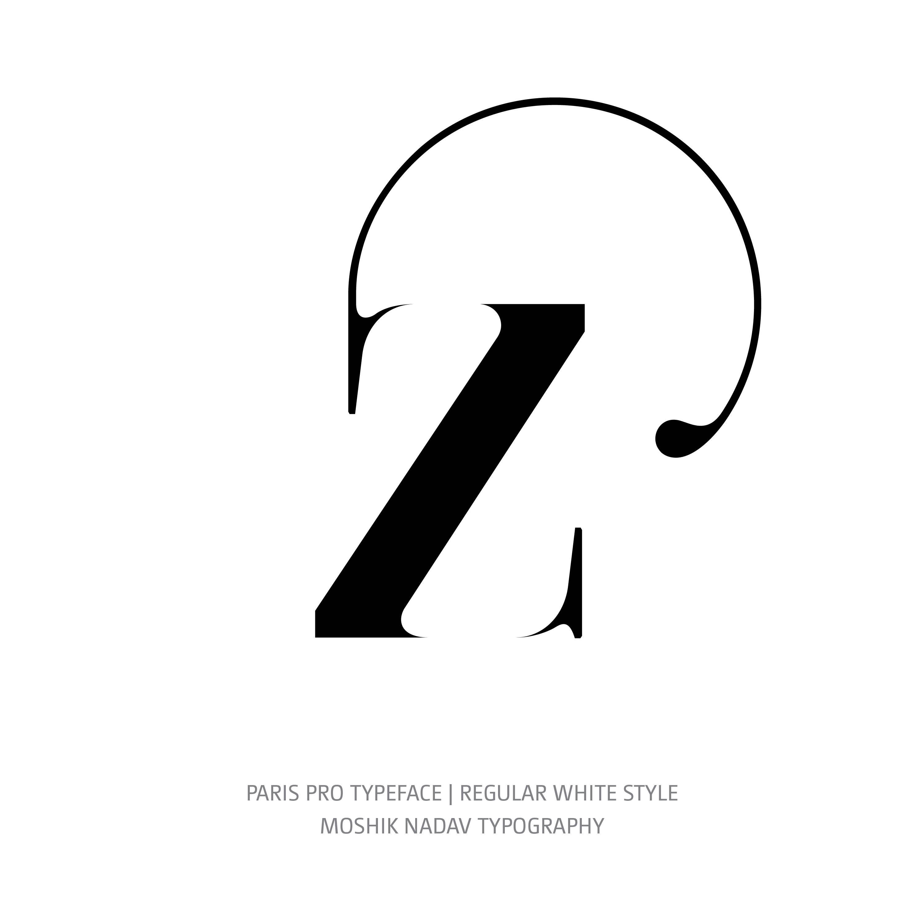 Paris Pro Typeface Regular White alt z ligature