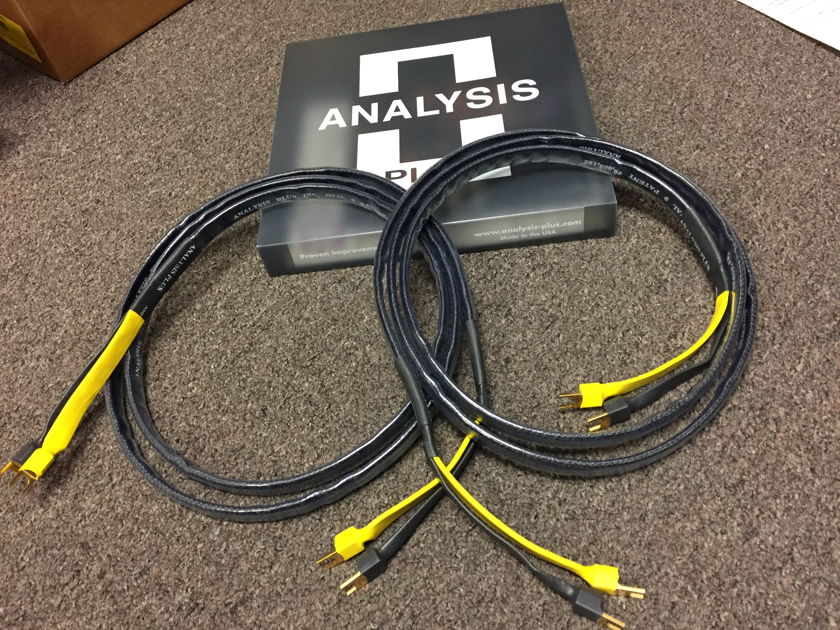 Analysis Plus Black Mesh Oval 9 Speaker Cables, 8ft pair with Gold T1 Spades