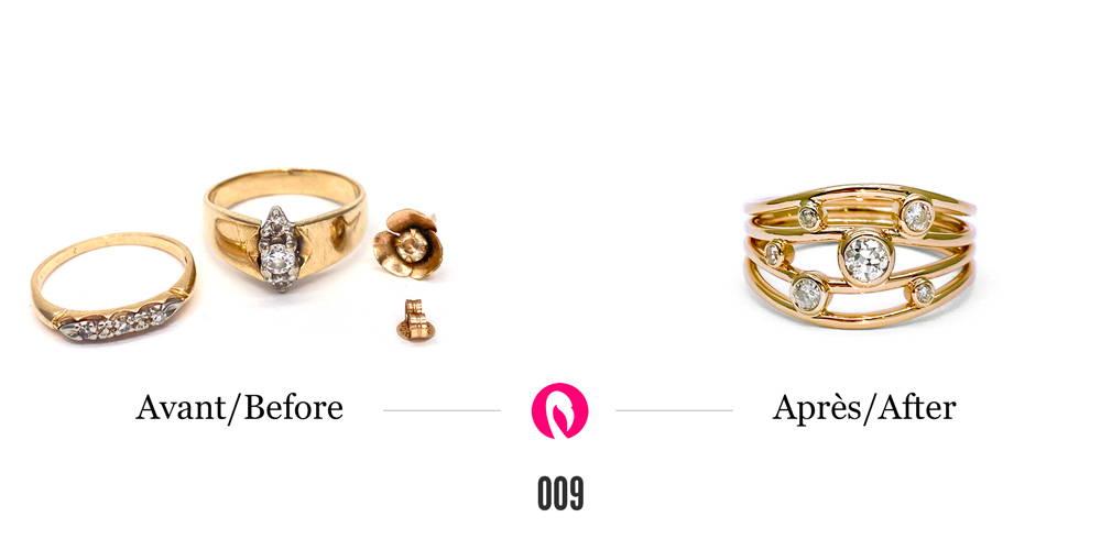Bagues avec diamants et boucle d'oreilles en or jaune transformées en une seule à multiples tiges type Nuit étoilé de Flamme en rose avec diamants.