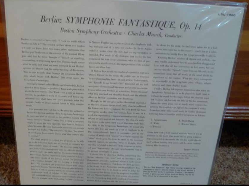 Boston Symphony (Munch) - Berlioz Symphony Fantastique lsc1900 Classic Records original reissue 180G 1990's Sealed
