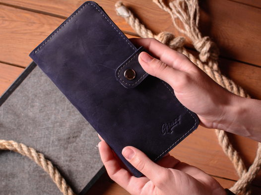 Портмоне из кожи -ESQUIRE- с отделением для телефона цвет Синий Океан