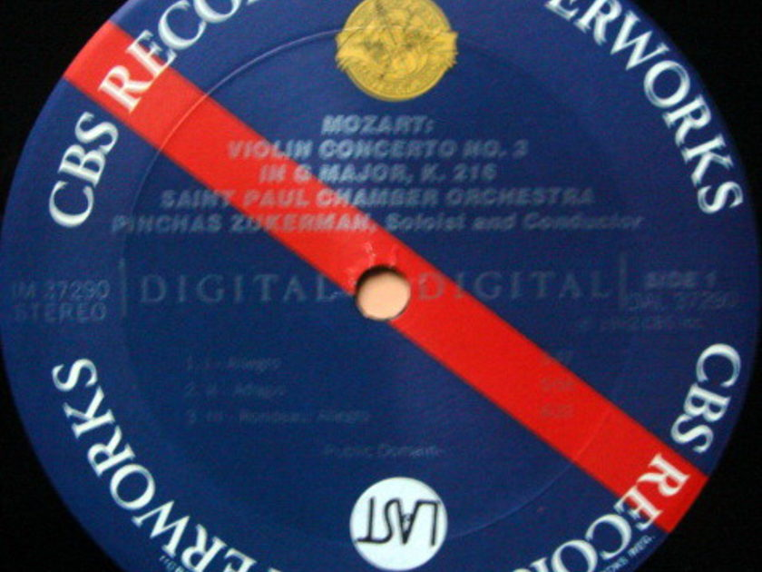 CBS Digital / ZUKERMAN, - Mozart Violin Conerto No.3 & 5, MINT!