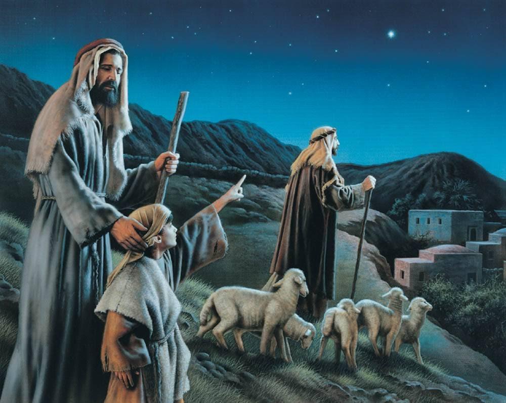 LDS art print of Nativity shepherds traveling to visit the infant Jesus Christ.