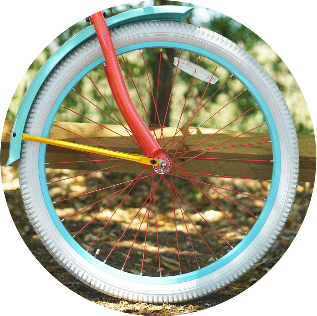 Custom Curated Coral Frame, Aqua Fender & Rim with yellow brace