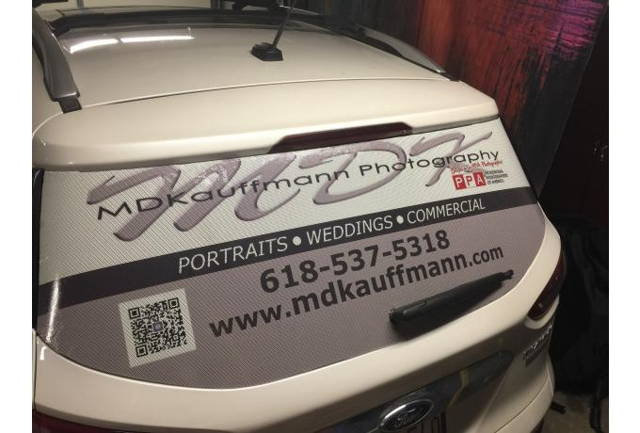 perforated rear window graphic for business advertising